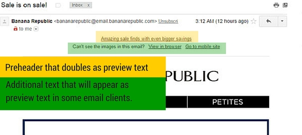 This is an example of a preheader in an email.