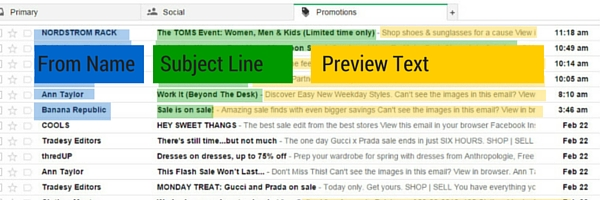 This is how the from name, subject line and preview text display in gmail on a desktop.