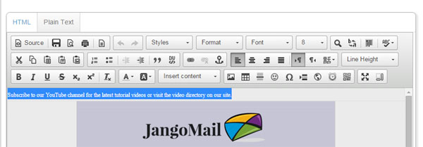 JangoMail preview text hack.